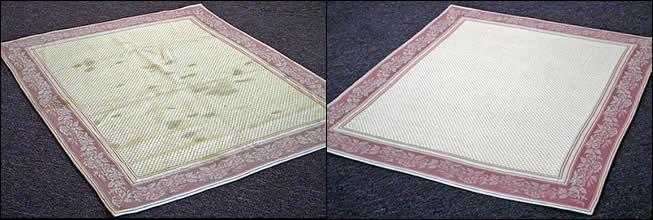 Handmade Cream Rug with Border - Before and After Cleaning
